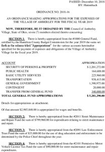 Icon of Ord 2018-16 Making Appropriations For The Expenses Of The Village Fiscal Year 2019
