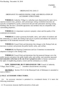 Icon of Ordinance 2018-13 Amend Zoning Code And Regulation Of Accessory Structures